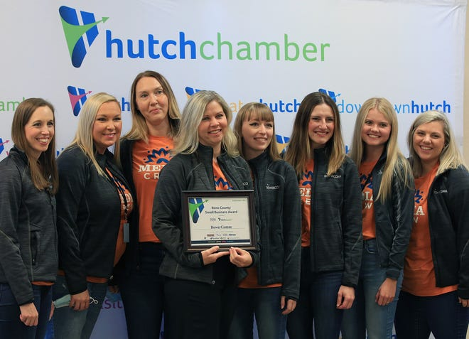 Lori Bower, owner of BowerComm, and her staff are photographed at the Hutchinson / Reno County Chamber of Commerce breakfast meeting Sept. 16, 2021, in Dillon Hall at the Kansas State Fair. BowerComm was the winner of the Small Business Award for September 2021.