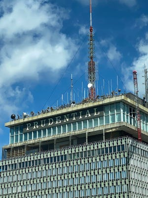 Work continues on the building of a new observation deck on the top of the Prudential Tower.