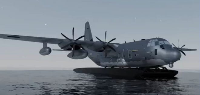 A rendering shows how an AC-130J military aircraft might be converted to operate amphibiously. Lt. Gen. James Slife, commander of the Air Force Special Operations Command, told reporters Monday that a flying demonstration of the concept could come sometime next year.