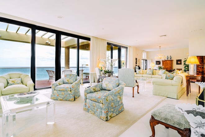 With a broad balcony and wide ocean views, Penthouse 4S in the south building at 2 N. Breakers Row has been listed at $19.995 million, a record-setting asking price in Palm Beach.