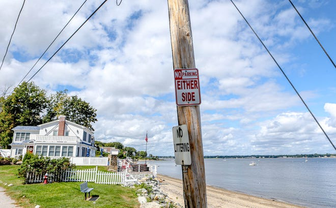 """Waterfront communities in Warwick are littered with """"No Parking"""" signs. Only a small fraction of them, like this one on Beachwood Drive in Potowomut, have any legal authority."""