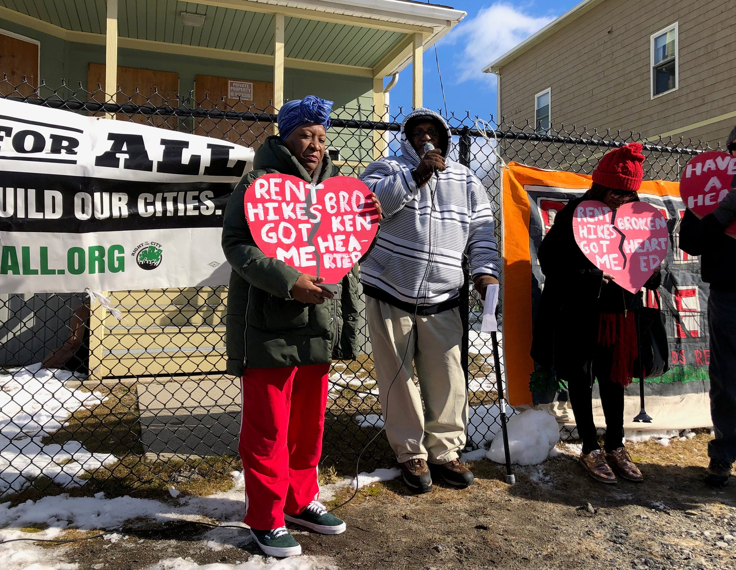 Affordable-housing advocates rally outside the vacant Barbara Jordan II apartments in South Providence in February 2019. The complex is being redeveloped through a housing fund created by the city later that year.