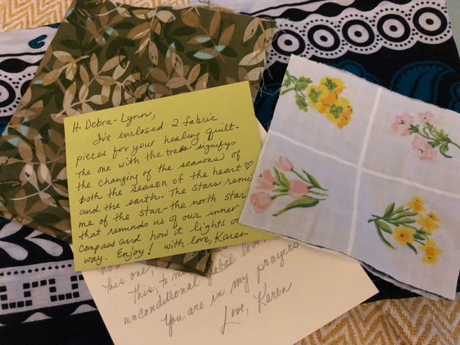 Healing quilt- some of the fabric pieces and loving notes Debra-Lynn's friends and family sent for her healing quilt.