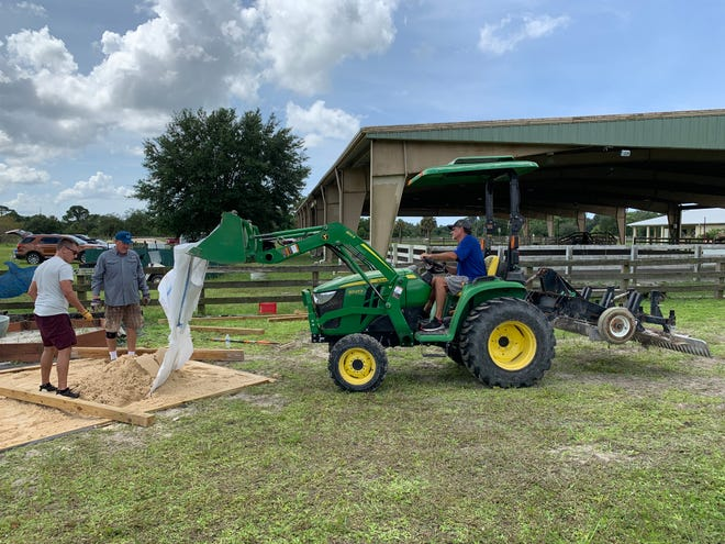 Work is underway at the Easterseals InStride Equestrian Riding and Therapy Center to enhance a sensory arena used in therapy sessions for children with disabilities.