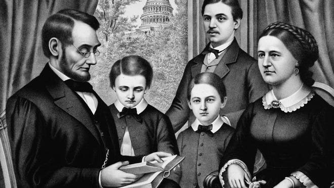 Perhaps before or following Sunday church services at the New York Avenue Presbyterian Church in Washington, D.C., the family frequently gathered around Abraham Lincoln who had deeply religious beliefs while he read aloud excerpts from the Bible.