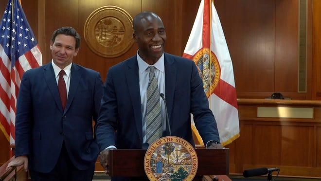 A screenshot of Dr. Joseph A. Ladapo, Florida Gov. Ron DeSantis' pick for Surgeon General, during Tuesday's announcement in Tallahassee. (Image courtesy of the Executive Office of the Governor)