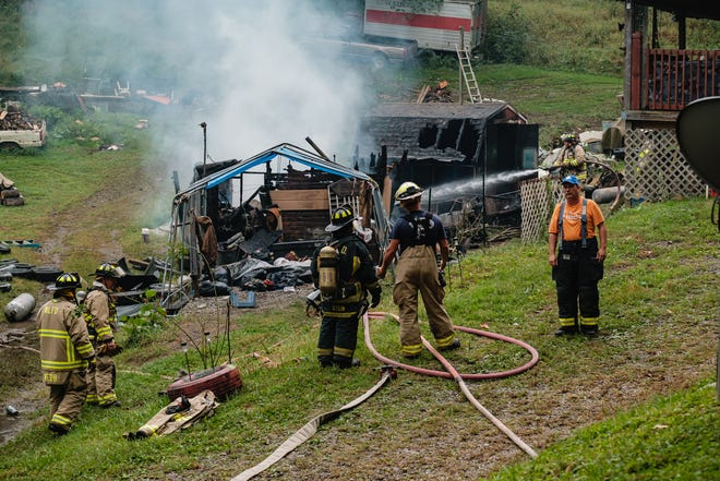 Multiple fire departments responded to the report of a burning shed at 15201 Dunlap Creek Road SW in Oxford Township at 4:04 p.m. Tuesday. A 40-year-old man is accused of setting the shed on fire after a fight with his wife on their property.