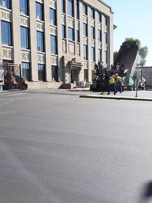 Work to revamp the parking lot at the Codington County Courthouse continued Tuesday morning. The lot south of the courthouse will be closed through the week.