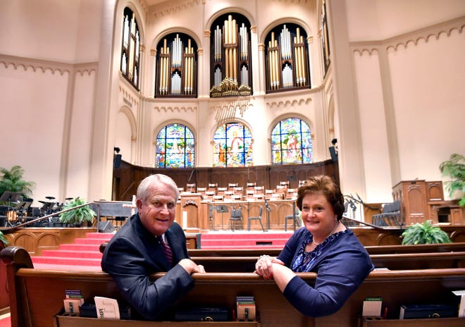 Phil and Mary Christopher in the First Baptist Church sanctuary in Abilene. After 45 years in the ministry and 26 years leading First Baptist, Phil will be in the pulpit one more time Sunday before retiring.