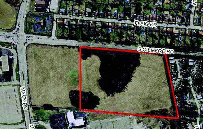 Aerial view of 32 acres being considered for a subdivision at Mack and South Gilmore roads in Fairfield.