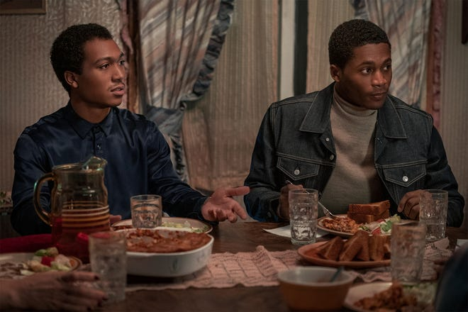 """Demetrius Flenory Jr. and Da'Vinchi in a scene from """"BMF,"""" the new Starz series from Curtis """"50 Cent"""" Jackson."""