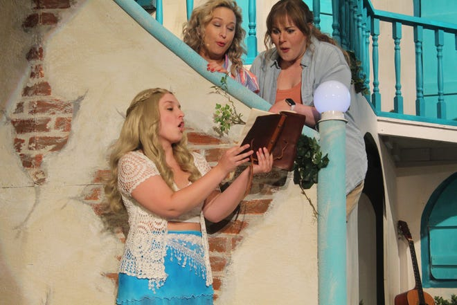 """Caroline Guy,  center, portrays Sophie Sheridan in the Fremont Community Theatre production of """"Mamma Mia!"""" The FCT production starts Friday, with Saturday matinee and evening shows and a Sunday matinee. Other show dates are Oct. 1, 2 and 3 at FCT."""
