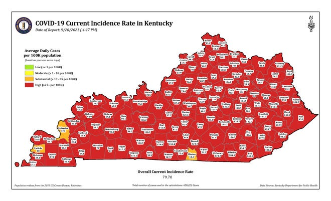 This COVID-19 map of Kentucky is distributed by the Kentucky Department for Public Health.