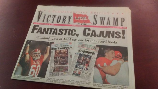 A commemorative edition of The Daily Advertiser was printed Sept. 19, 1996, after the then-USL Ragin' Cajuns upset No. 25 Texas A&M. Locals consider it the Cajuns' greatest win at Cajun Field,