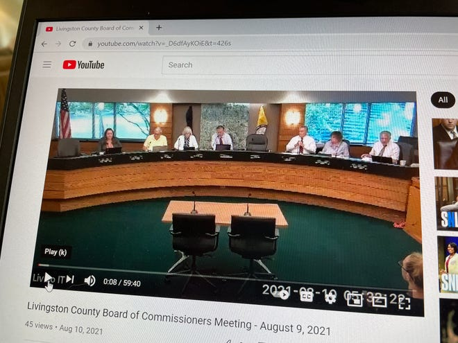 YouTube reposted two videos of a Livingston County Board of Commissioners meetings, including one held on Aug. 9, 2021. The video shown posted on the site Tuesday, Sept. 21, 2021.