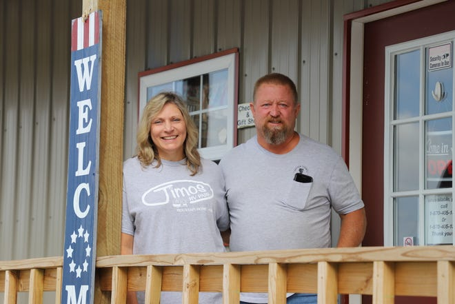 Jimmie and Melissa Kasinger pose for a photo outside of their office at Jimos RV Park. The couple are not new to being business owners and have run several businesses in Mountain Home including Bobbie Sue's.