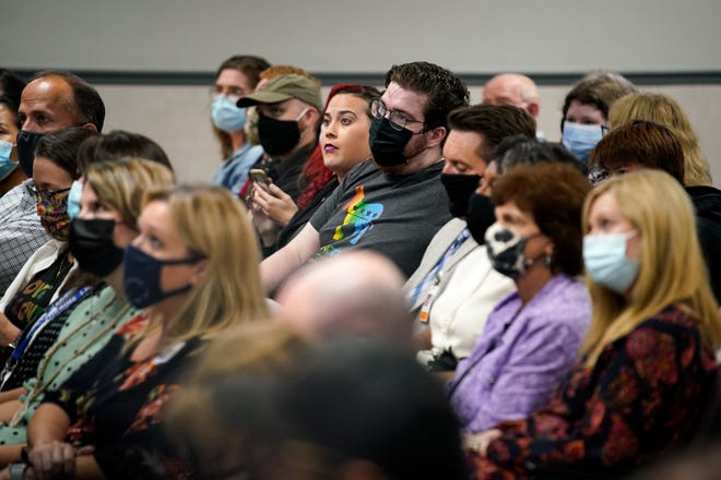 Attendees listen to speakers during a Williamson County Schools board of education meeting at Williamson County Administrative Complex in Franklin, Tenn., Monday, Sept. 20, 2021.