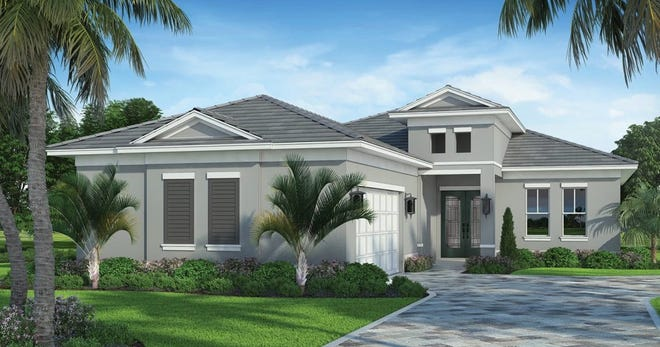 An artist's conception of the Egret, a three-bedroom design being constructed at Sapphhire Cove, a community of single-family homes in South Naples.