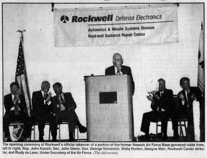 Dignitaries attend the privatization of the Air Force base on Oct. 4, 1996.