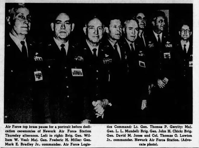 Military dignitaries stand for a picture at the dedication ceremony for the Newark Air Force Station on Dec. 13, 1962.