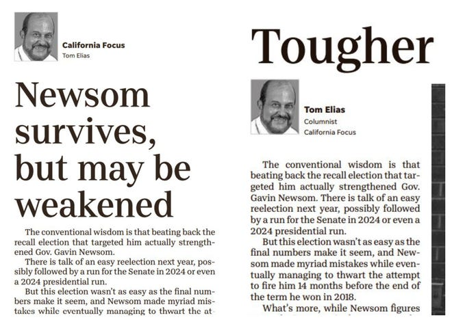 Portions of a Tom Elias column as it ran in The Desert Sun on, left, Sunday, Sept. 19; and, right, Tuesday, Sept. 21.