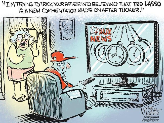Marlette cartoon: Tucker vs. Ted Lasso