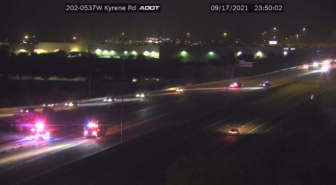 Eastbound Loop 202 was closed at Kyrene Road in Chandler due to a crash on Sept. 17, 2021.