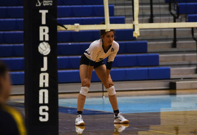 Raelyn Johnson prepares for a serve during Chambersburg's match against Cedar Cliff on Monday, September 20