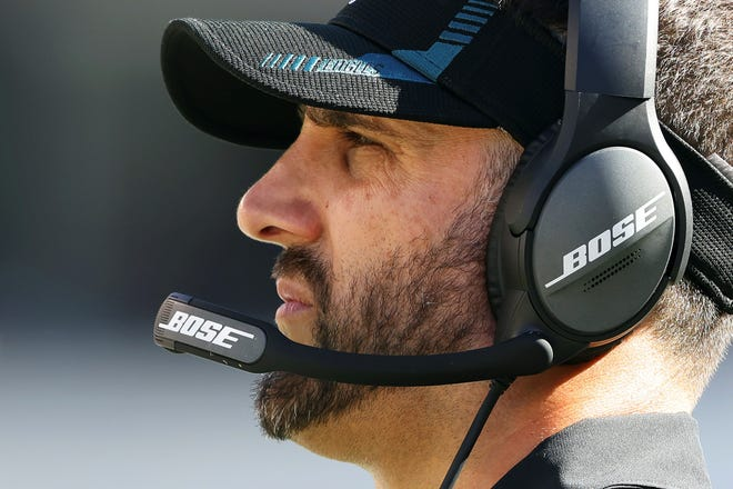 Philadelphia Eagles' head coach Nick Sirianni in action during an NFL football game against the San Francisco 49ers, Sunday, Sept. 19, 2021, in Philadelphia. (AP Photo/Rich Schultz)