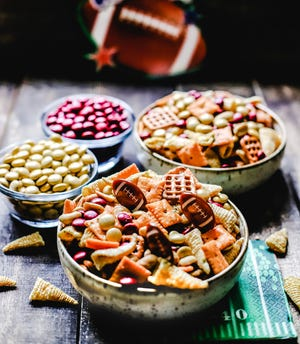Be inventive with your game day snacks and use what you have, from Cheez-its and Bugles to garnet and gold M&Ms. You could just as easily add orange and green for the Rattlers or your favorite team colors.