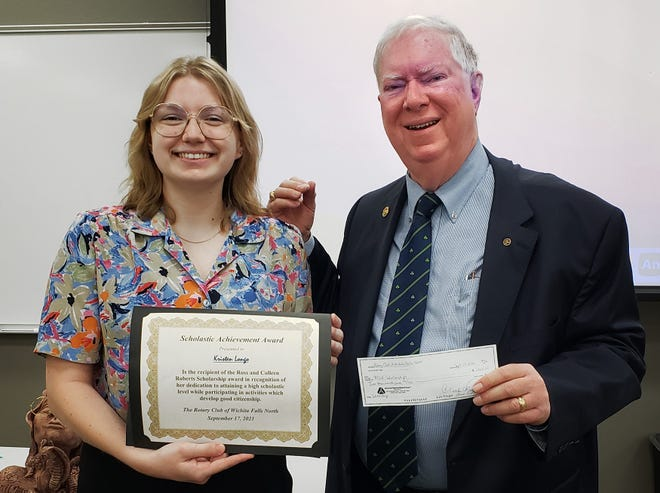 Midwestern State University student Kristen Longo, received the Ross and Colleen Roberts-MSU Scholarship for 2021-2022. She is pictured with Gary Southard, Chair of the Vocational Committee of Rotary Club North. Longo is a senior in the Fain College of Fine Arts who is studying for a B.F.A. in Ceramics.