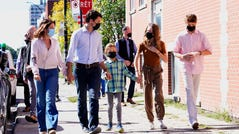 Liberal leader Justin Trudeau arrives to cast his ballot in the 44th general federal election as he's joined by wife Sophie Gregoire-Trudeau, and children, Xavier, Ella-Grace and Hadrien in Montreal.