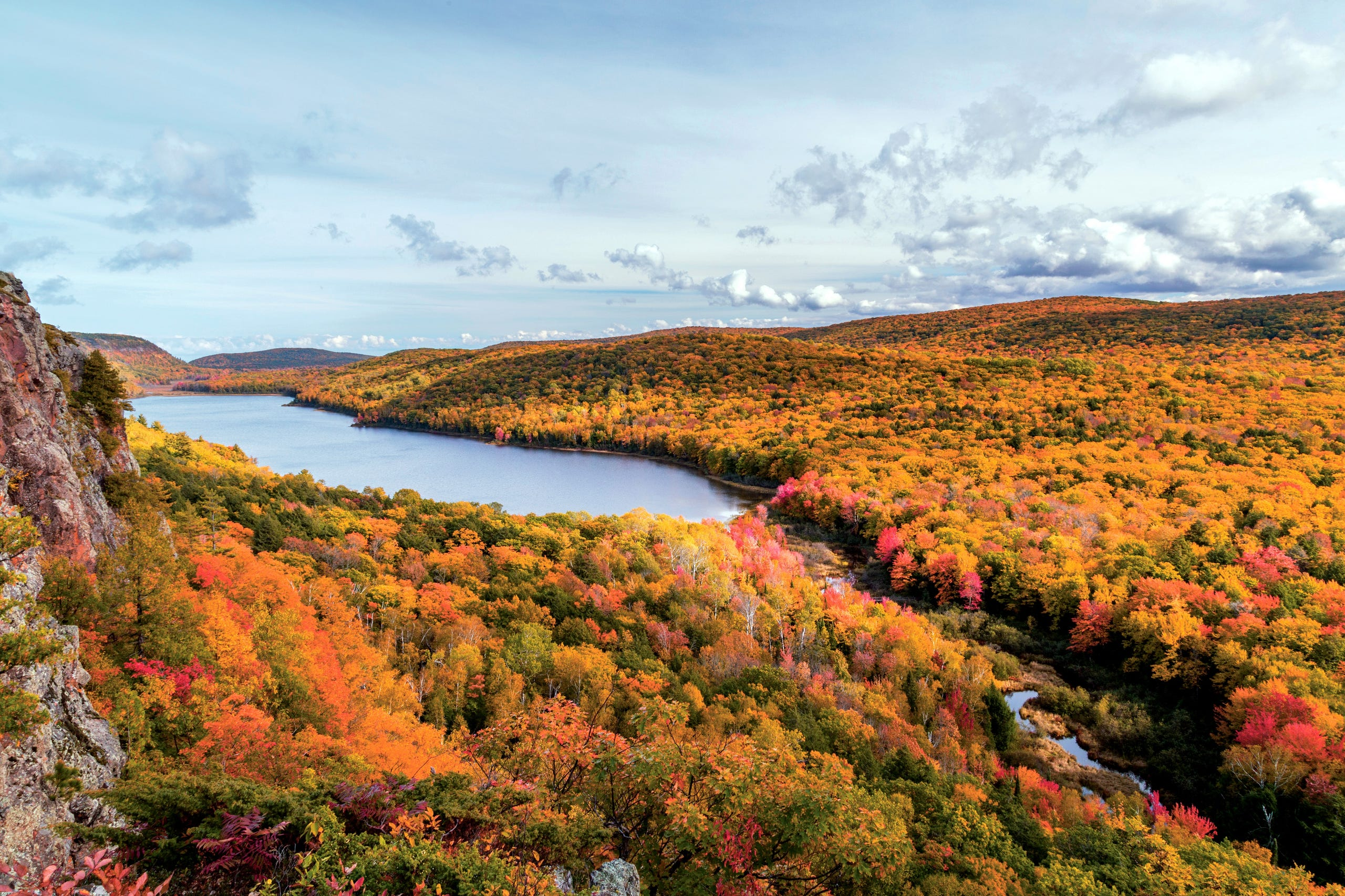 <strong>No. 2:&nbsp;Upper Peninsula, Michigan.&nbsp;</strong>Just about the entire Upper Peninsula puts on a display of fall color that peaks during the last two weeks of September and the first week of October. A favorite fall experience for leaf peepers is the drive along M-26 along the shores of Lake Roland and past the trees of Copper Country State Forest.