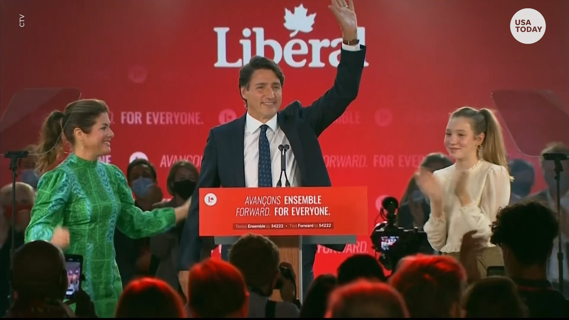 Canadian Prime Minister Justin Trudeau waves.