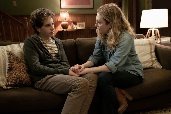 Evan Hansen (Ben Platt) is comforted by his mother Heidi (Julian Moore) in
