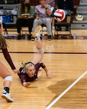 Samantha Ward makes a dig for Round Rock in a match against Austin High earlier this season. Ward and the Dragons' defense led Round Rock to a 3-0 win over McNeil on Tuesday, which moved the Dragons to 4-0 in District 25-6A play.