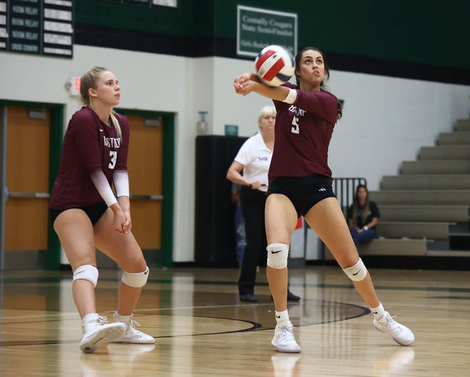 Bastrop's Crystal Creek controls the high Connally serve in district play Sept. 21 at Connally High School. Bastrop won the match in three sets over Connally.