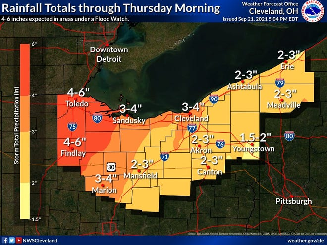 Heavy rainfall is expected across northern Ohio Wednesday into Thursday morning.