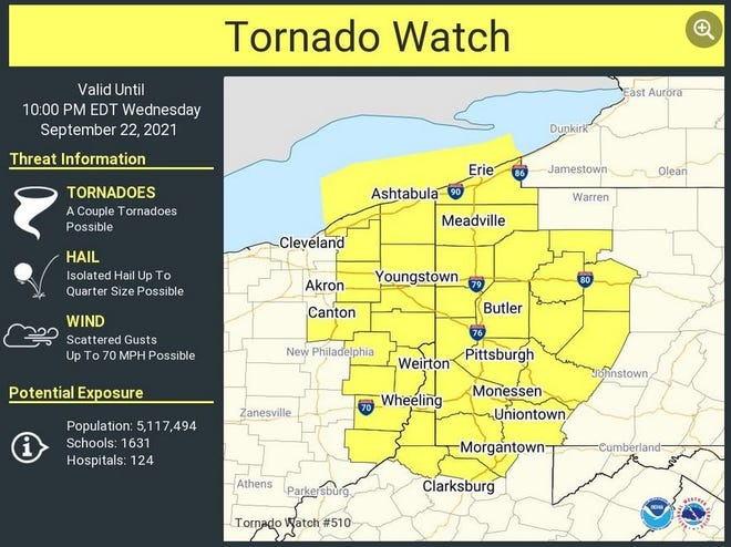 A Tornado Watch is in effect until 10 p.m. for the area in yellow.