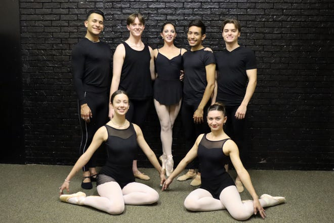 Back, from left, are Circleof Excellence Dancers Alexis Ayala, Matt Miller, Berkley Henderson, Eddie Gomez and Ben Goesl. Seated, from left, are Jamison Uselding and Hannah Hosnedl-Cowell.