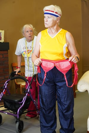 """Ruthellen Cunnally, left, and Phyllis Schrag rehearse a scene from """"Nana's Naughty Knickers,"""" the ACTORS production that opened last weekend and continues with shows on Friday, Saturday and Sunday."""