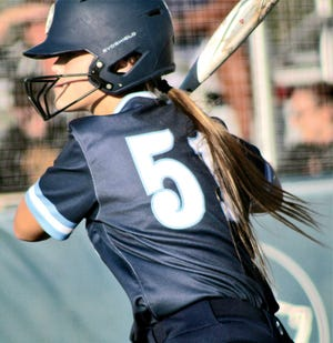 Bartlesville High's Clara Woods focuses on the upcoming pitch during Tuesday's softball action.