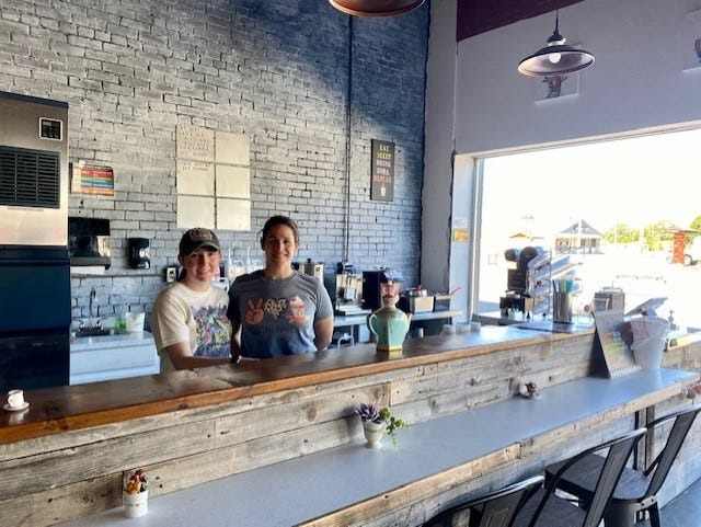 Christian Brandon, left, and Emily Wiswell in their new restaurant and bakery Sippin' Sweet Co., at  306 E Don Tyler Ave. in Dewey. The restaurant's grand opening is scheduled for 10 a.m. to 5 p.m. on Saturday.