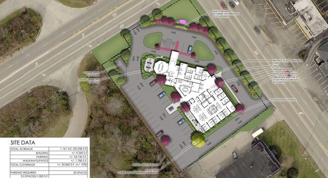 An overhead rendering shows plans for a 9,200-square-foot redevelopment at 2175 Riverside Drive at the southwest corner of Trabue Road and Riverside Drive that will result in the relocation of Oles + Associates LLC and The Sherrington Group from Columbus to Upper Arlington.