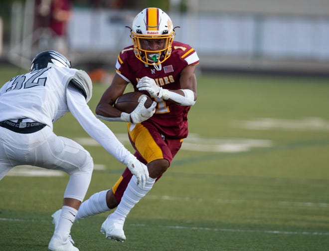 Westerville North's Daniel Johnson had two touchdown receptions in a 42-7 victory over Delaware on Sept. 17. The Warriors will look to end a 14-game losing streak to Westerville South when the teams meet Sept. 24 at South.