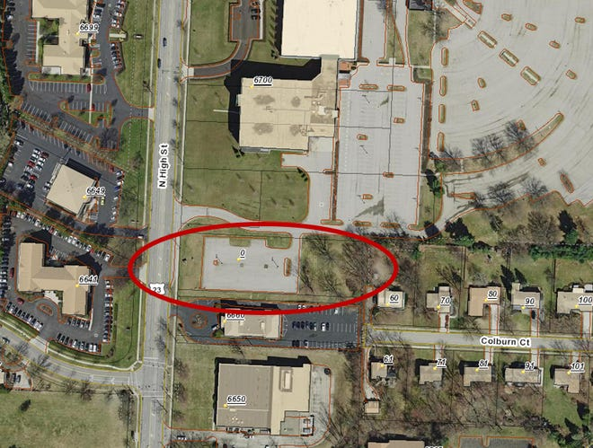 LCNB National Bank has a pending agreement to purchase this 1.3-acre parcel adjacent to the former Anthem building at 6700 N. High St. in Worthington to relocate its branch at 6877 N. High St.