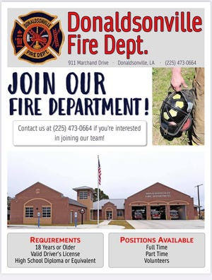 Donaldsonville Fire Department has positions available.