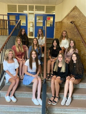 Members of the Lincoln High School 2021 Homecoming Queen Court include, bottom row, left to right,Bryn Gray, Angelina Ricciuti, Kyla Servick, Angelina Nardone; middle row left to right,Jaidyn Leviere, Katelyn Wehman, Asiah Barnhart, Alyssa Jeffcoat; top row left to right,Brianna Francis, Tess Kohnen, Jenna Vetica. The winner of the crown will be announced at the Ellwood City Wolverines homecoming game at 6:30 p.m. Oct. 1.