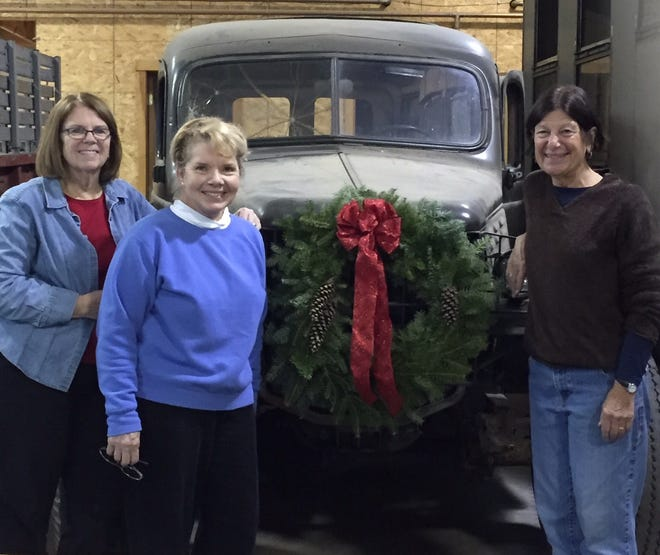 Gafney Library Trustees organizing the annual Gafney wreath sale are from left to right Janet Gould, Sharon Theiling and Barbara Wadleigh.