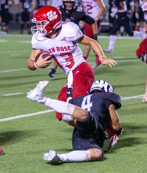 Glen Rose quarterback Hudson White (13) ran over the Grandview defense for the tune of 280 yards and a school-record six rushing touchdowns Friday night.